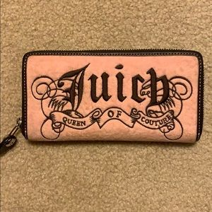 Pink and brown velour juicy couture wallet